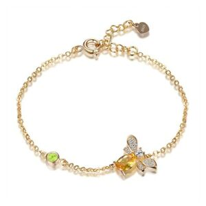 925 Silver Queen Bee Citrine Gemstone Insect Pageant Gold Plated Bangle Bracelet