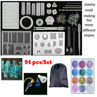 83Pcs Silicone Casting Molds and DIY Tools Jewelry Resin Mould Pendant new S1Y7