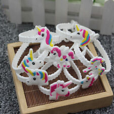 2/10x Unicorn Bracelet White Band Party Bag Fillers Kids Toys Christmas Gift Top