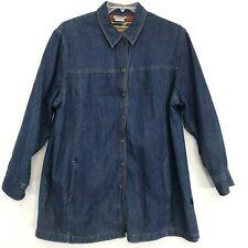 r.e.d. Wear Blue Jean Denim Shirt Jacket 1X Snap Front Pockets Silky Poly Lined