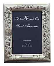 PHOTO FRAME PEWTER FINISH MY CHRISTENING DAY 6X4' PERSONALIZED GIFT ENGRAVABLE
