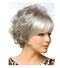 Hot Sell Women Fashion Short Curly Wavy Siliver Gray Cosplay Hair Full Wig Wigs