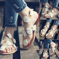 Women Bohemia Flower Flip Flops Summer Flat Sandals Beach Casual Toe Ring Shoes