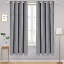 2 Panels Set Blackout Eyelet Curtains Super Soft Thermal Insulated Window