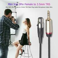 3.5mm TRS 1/8inch Male to Mini 3Pin XLR Female Audio Microphone Extension Cable