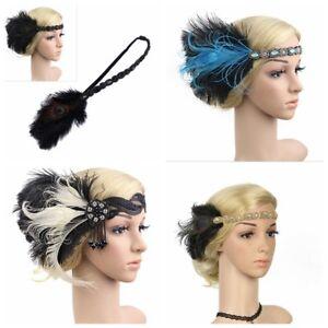 Bridal Flapper Peacock Headband Headpiece 1920s Great Gatsby Gangster Headdress