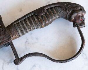 """1823 French Klingenthal, Rustic, Snake skin hilt, 36 1/2"""" Sword Saber + Sheath"""