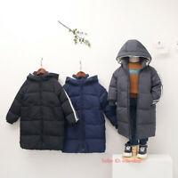 Kids Boys Girls Winter Warm Duck Down Jackets Puffer Coats Hooded Parka Outwear