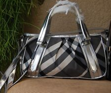 Authentic Burberry Nova check Satchel Handbag & Wallet Set Color Silver