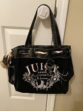 Juicy Couture Black Women's Velour/Velvet Embroidered Handbag