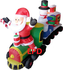 CHRISTMAS 7 FT SANTA SNOWMAN GIFT TRAIN INFLATABLE AIRBLOWN YARD DECORATION