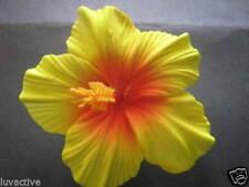 Hawaiian Foam Hibiscus Flower Hair CLIP Sunset Yellow