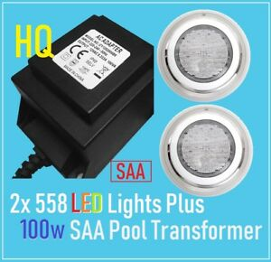 HQ Stainless Steel 558 LED Lights RGB 7 Color Remote SAA Waterproof Transformer