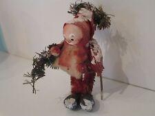 """Antique Christmas SANTA Figurine 4"""" Paper Mache/Spun Cotton France RELISTED"""