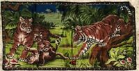 Tiger King Vintage Made in Lebanon Tiger Tapestry Wall hanging 19 X 37