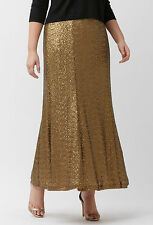 PRETTY LANE BRYANT PLUS SIZE GOLD W/ ELASTIC WAIST SEQUIN LINED MAXI SKIRT Sz 16