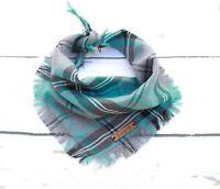Buffalo Blue Frayed Plaid Puppy Dog Bandana - Tie on Classic Scarf-Small-Large
