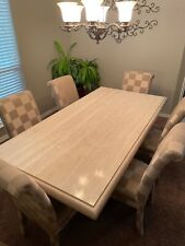 Italian Long travertine dining table with 6 chairs-1500$