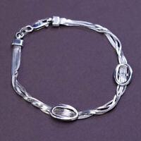 "7.25"", vtg Sterling silver handmade 4 strands snake bracelet w/ oval knot"