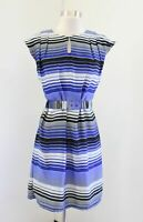 Banana Republic Blue Purple Black Striped Belted Waist Shift Dress Size 0 Casual
