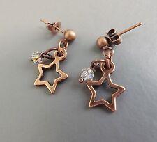 Sweet star & Austrian crystal drop earrings .. cute copper glass charm jewellery