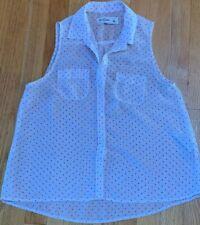 Abercrombie & Fitch Kids Girls Large Sheer Sleeveless Top Shirt Blouse White