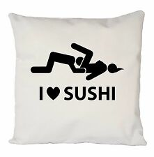 FUNNY I LOVE SUSHI CUSHION COVER PILLOW CASE FASHION IDEAL GIFT BIRTHDAY PRESENT