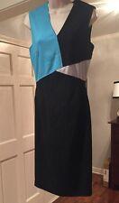 Raoul Sofia Black-Multi Colorblock Elegant Crepe Dress. NWT Sz.8