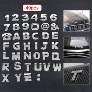 40pcs Car Alphabet letter Number Symbol Emblem Badge Decal Stickers Steel DIY 3D