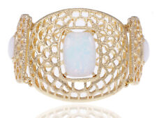 Golden Tone Contemporary Inspired White Rhinestone Honey Comb Design Bracelet