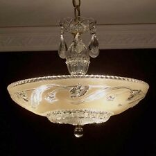929z Vintage 30s 40s  arT DEco Ceiling Light Lamp Fixture Chandelier cream