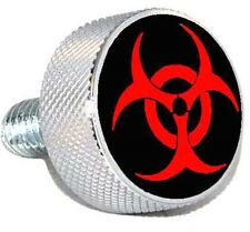 "Chrom Billet ""Red Bio Hazard"" Knurled Air Cleaner Bolt for Harley Filter Cover"