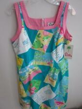 NEW Lilly Pulitzer Boca Blue Postcard Shift Dress Size 10 100% Cotton Brand NWT