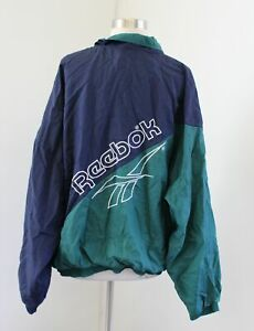 Vtg 90s Reebok Mens Color Block Windbreaker Track Jacket Size L Navy Blue Green
