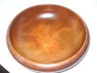 Vintage Curled  Edge Natural Wood Bowl Salad/Serving