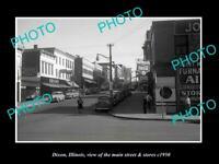OLD POSTCARD SIZE PHOTO DIXON ILLINOIS THE MAIN STREET & STORES c1950