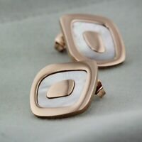 New Women Fashion Rose Gold GF White Mother of Pearl Square Stud Earrings