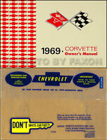 1969 Corvette Owners Manual and Envelope Package 69 Owner Guide Book Chevrolet