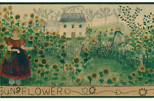 Sunflower Field Garden Country Vintage Primitive Folk Art Green Wallpaper Border