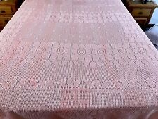 More details for vintage very large hand crochet peach bed cover throw 90x98 inches