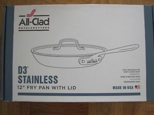NEW IN BOX ALL CLAD D3 STAINLESS STEEL 12 INCH FRY PAN WITH LID
