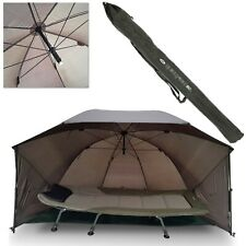 """NGT FISHING UMBRELLA CARP SHELTER BROLLY WITH SIDES AND STORM POLES 60"""" QUICK"""