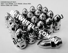 """20PC+1 1/2"""" UNF BULLET NUTS FORD falcon hotrod 19mm HEX CHROME WHEEL NUTS MOON"""