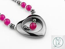 Black Hematite Heart Necklace 20'' 9 Colors Healing Chakra Reiki Healing