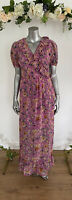 Influence Maxi Dress Wrap Pink Floral Lined Size 8 & 12 GD42  New Boohoo