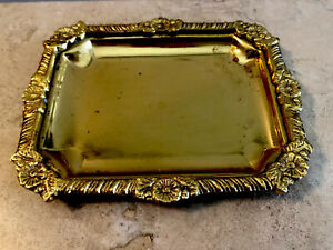 """Vintage Small SOLID Brass Tray ENGRAVED, India, Edged In Raised Floral Design 6"""""""