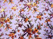 "100% SILK VELVET BURNOUT PURPLE FLOWERS FABRIC 45"" WIDE BY THE YARD"