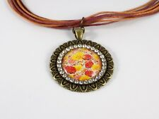 Collier Fleurs Rouge Jaune Orange Bronze Médaillon Strass