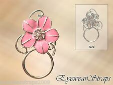 NEW Gorgeous Pink Crystal Flower Eye Glasses Spectacle Hanger Brooch Pin Holder