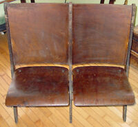 Antique Double Folding Wood Theater Chairs Auditorium Old